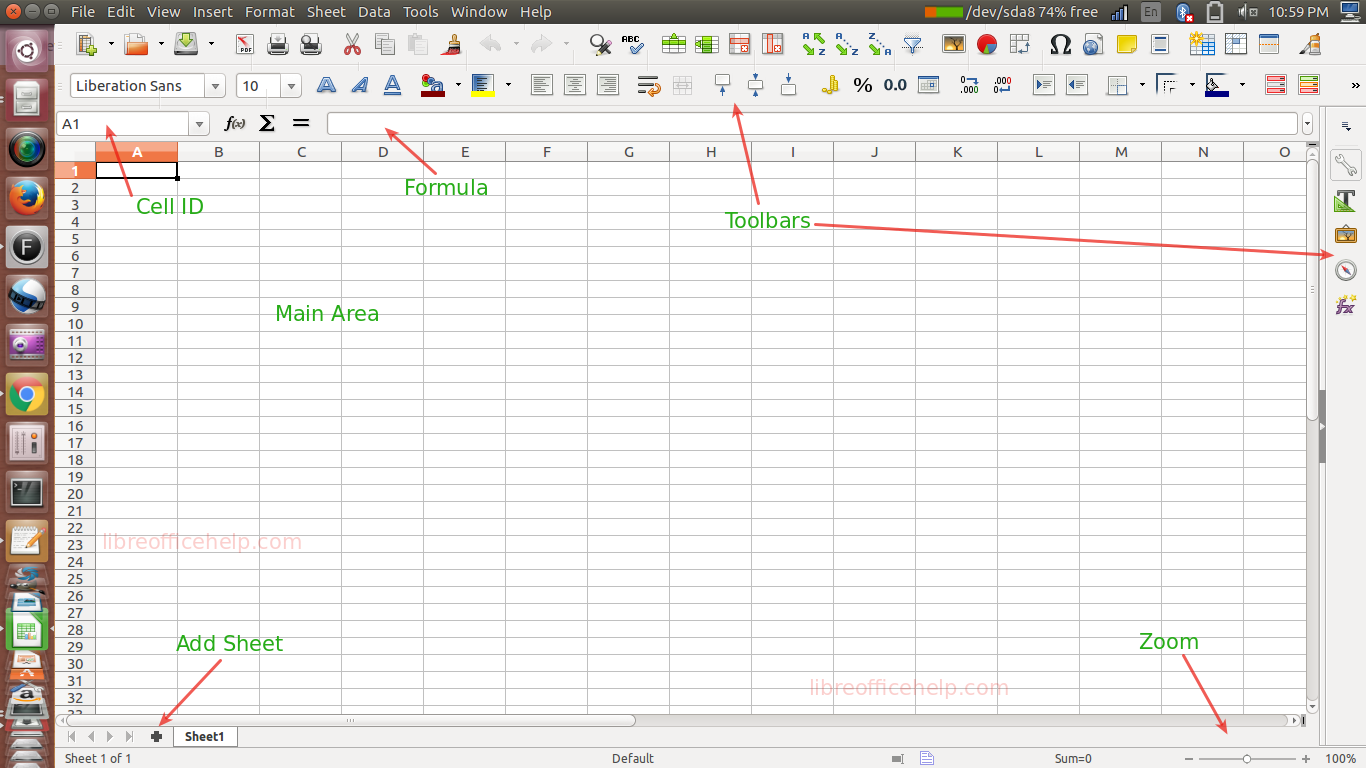 Familiarise with LibreOffice Calc – Work Area