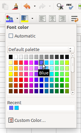 Color Palette in Toolbar