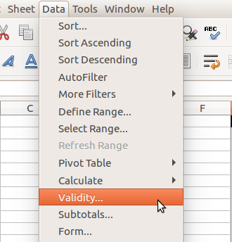 LibreOffice Calc - Data Validation in Menu