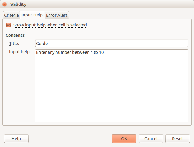 LibreOffice Calc - Input Help
