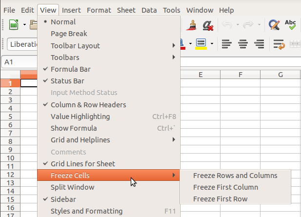 Freeze Cells - Options in Calc Menu