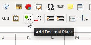 Toolbar - Decimal places - plus
