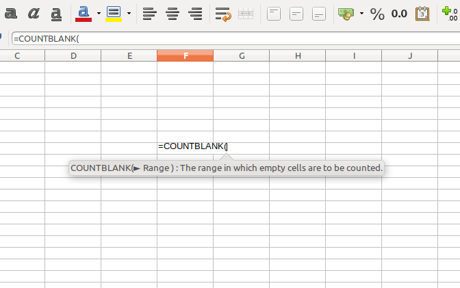 Count Blank Non Empty Cells in Calc