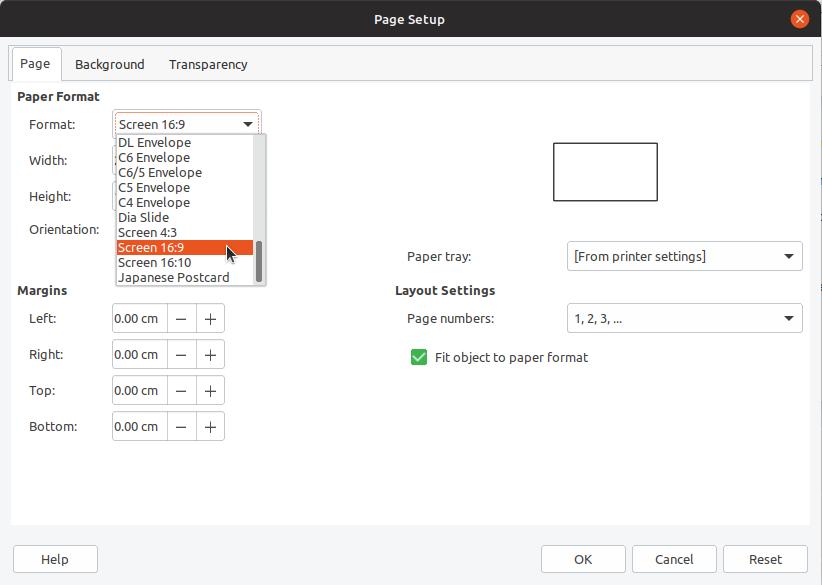 Changing Slide Size - LibreOffice Impress