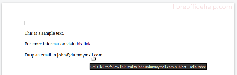 Email Link Created