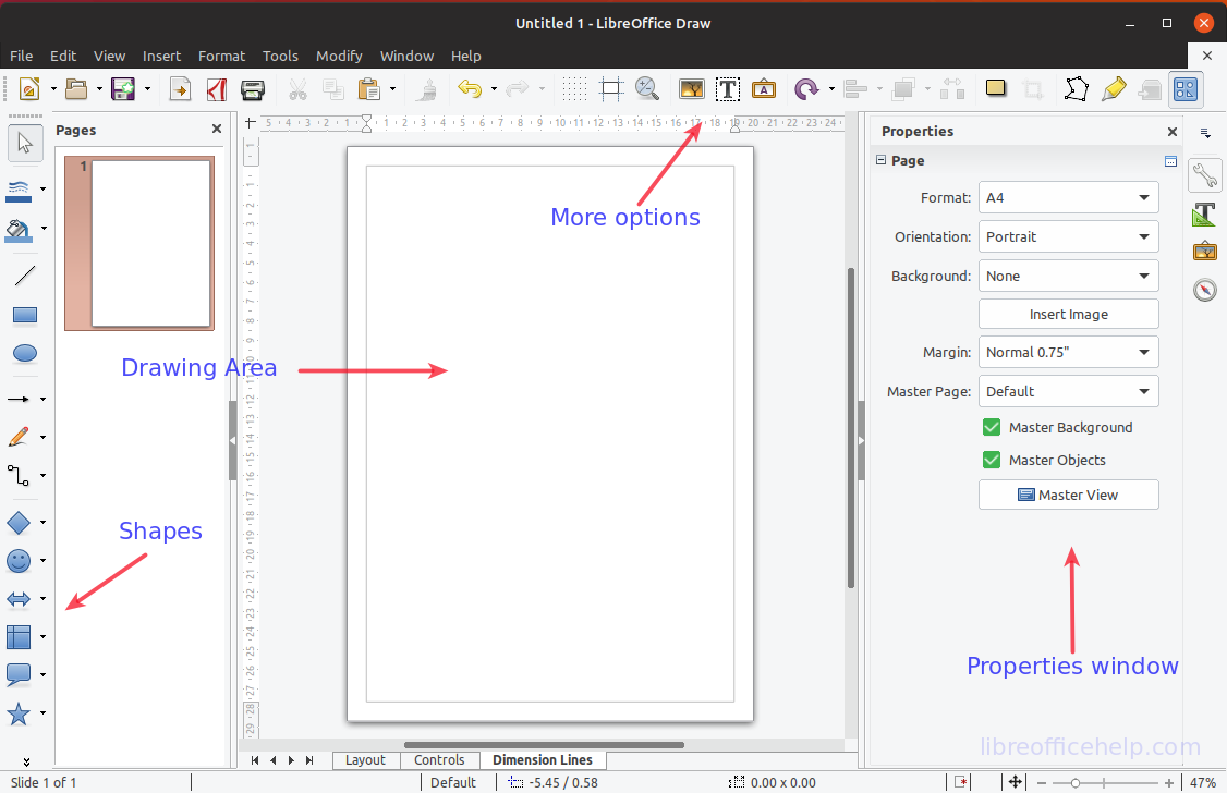 LibreOffice Draw Workspace