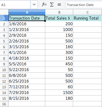 Running Total - Data Sets
