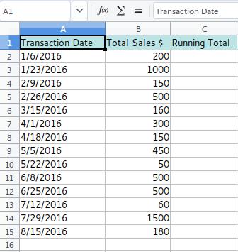 Running Total - Data Sets