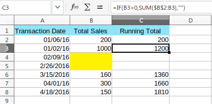 Running Total - Empty Rows-Solution
