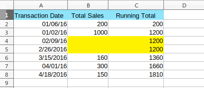 Running Total - Empty rows