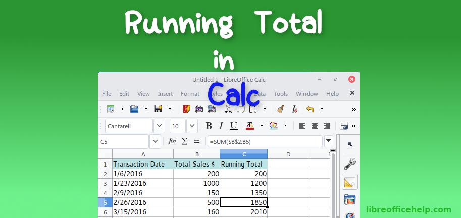 Create Running Total Column in LibreOffice Calc