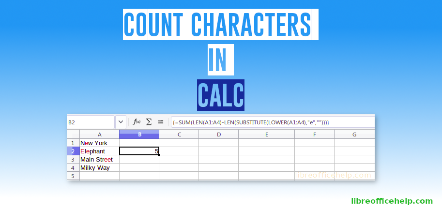 Count Characters in LibreOffice Calc Cell