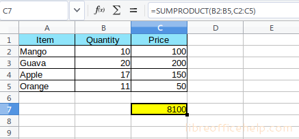 SUMPRODUCT Function with Examples in LibreOffice Calc