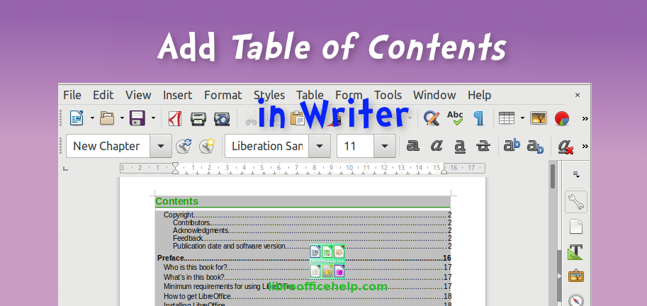 How to Add Table of Contents in LibreOffice Writer