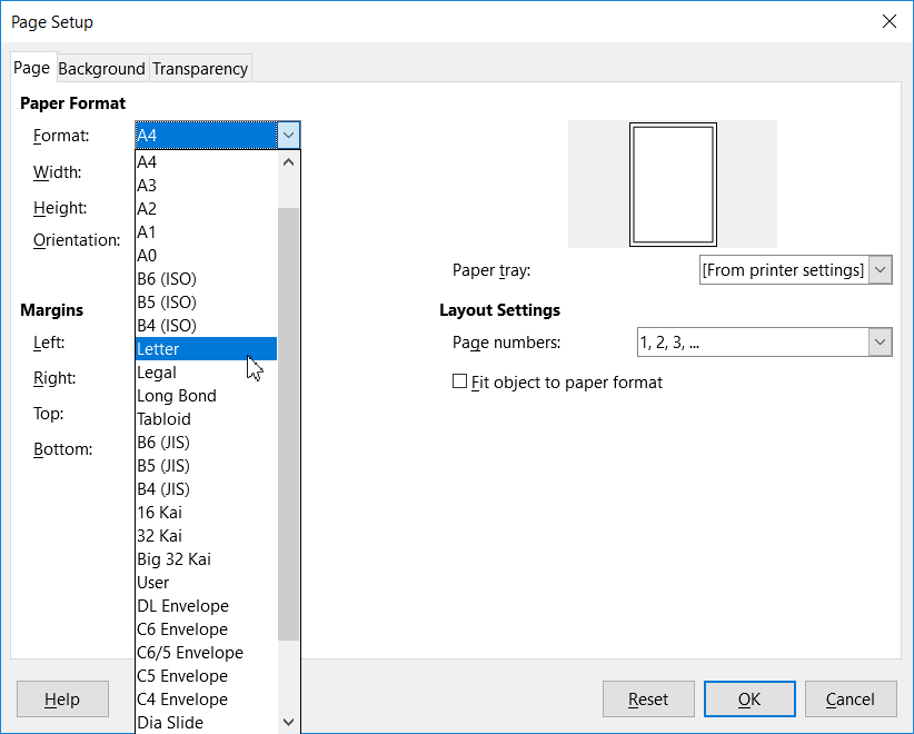Page Properties Dialog - Page tab
