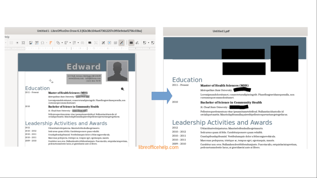 Redaction in LibreOffice 6.3