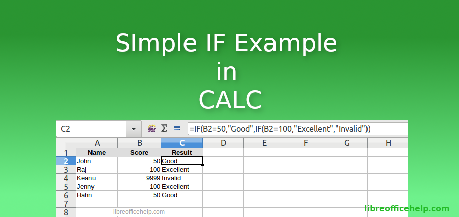 IF Function in LibreOffice Calc – Basics and Examples