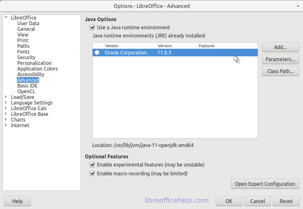 LibreOffice Options Dialog - After JRE Installation