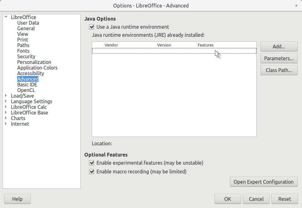 LibreOffice Options Dialog - Before JRE Installation