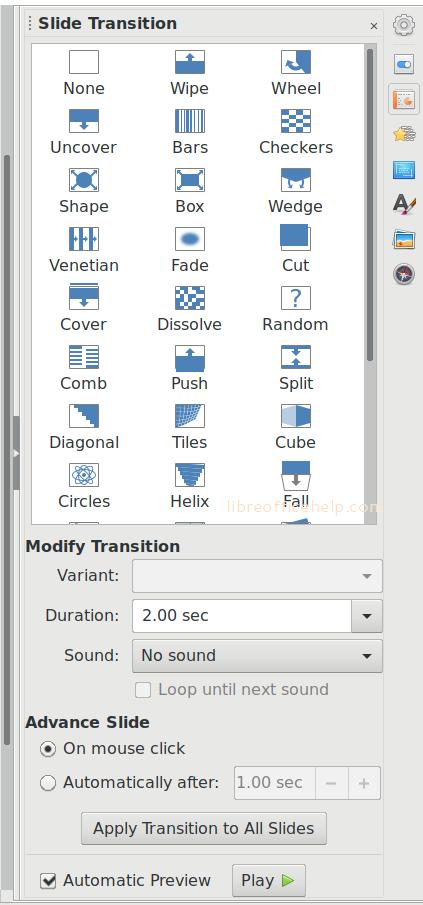 Slide Transition Settings