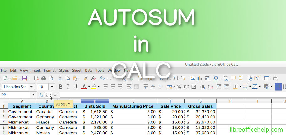How to do Autosum in Calc