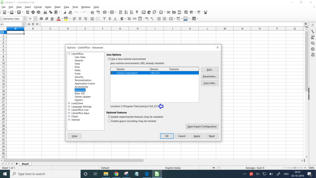 Java is detected by LibreOffice in Windows 10