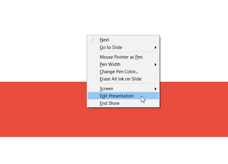 Context Menu in Show mode