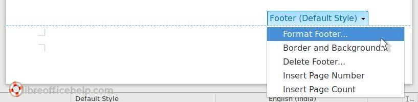 Format Footer - Writer