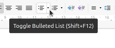 Bulleted list in toolbar