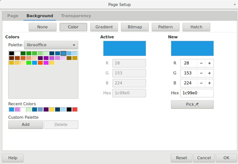 Color - Page setup window