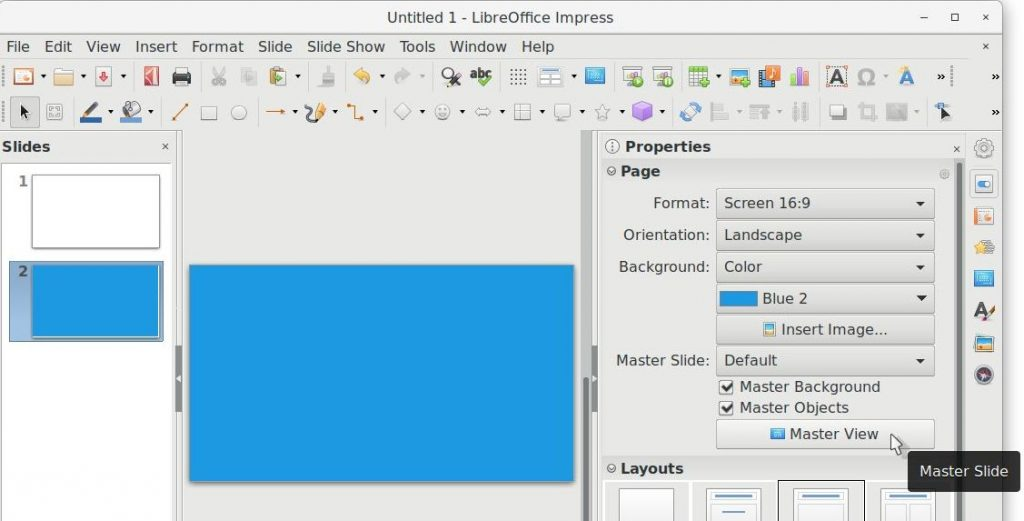LibreOffice Impress - Master Slide Option