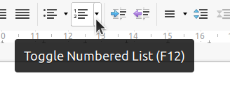 Numbered list in Toolbar