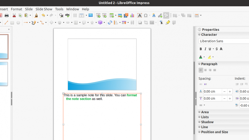How to Add Notes in LibreOffice Impress Slides