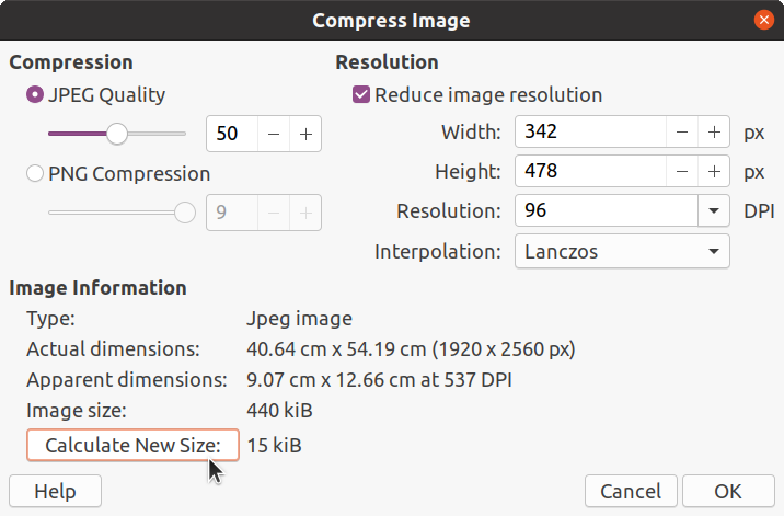 Compressing Image with JPEG